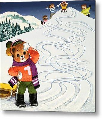 Teddy Bear Christmas Card Metal Print by William Francis Phillipps