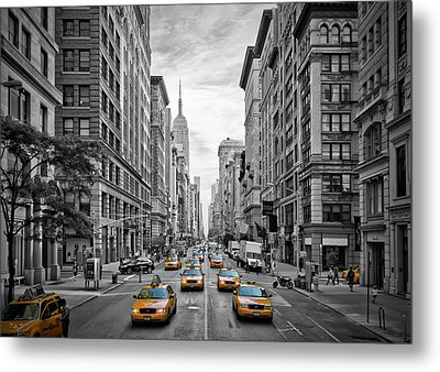 5th Avenue Yellow Cabs - Nyc Metal Print by Melanie Viola