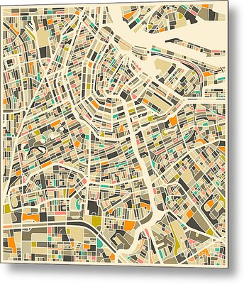 Amsterdam Map Metal Print by Jazzberry Blue