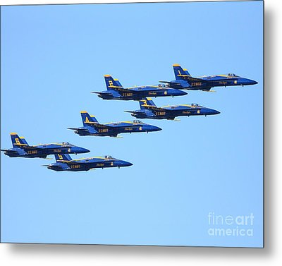 6 Blue Angels Jetting Through The Sky Metal Print by Wingsdomain Art and Photography