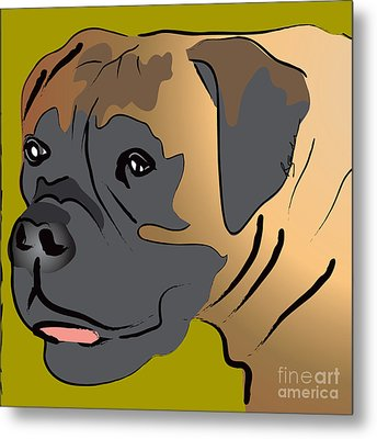 Boxer Dog Portrait Metal Print by Robyn Saunders