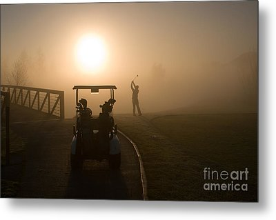 California Golf Course Sunrise Morning Golfers Metal Print by ELITE IMAGE photography By Chad McDermott