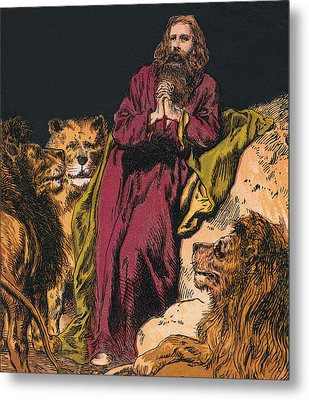 Daniel In The Lions' Den Metal Print by English School