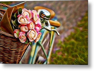 Flower Bike Collection Metal Print by Marvin Blaine