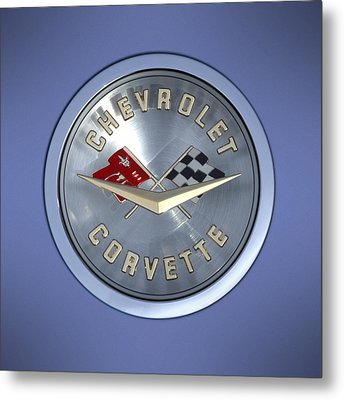 60 Chevy Corvette Emblem  Metal Print by Mike McGlothlen