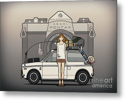 Honda N600 Rally Kei Car With Japanese 60's Asahi Pentax Commercial Girl Metal Print by Monkey Crisis On Mars