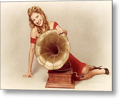 60s Pin Up Girl With Vintage Record Phonograph Metal Print by Jorgo Photography - Wall Art Gallery