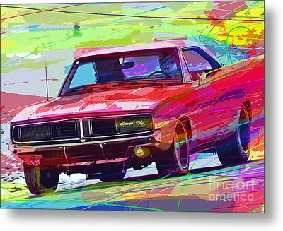 69 Dodge Charger  Metal Print by David Lloyd Glover