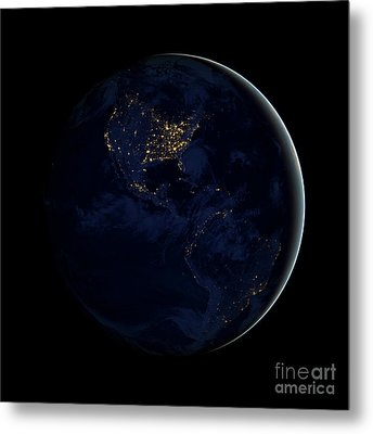 Full Earth At Night Showing City Lights Metal Print by Stocktrek Images