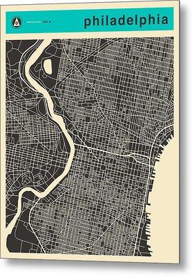 Philadelphia Map Metal Print by Jazzberry Blue