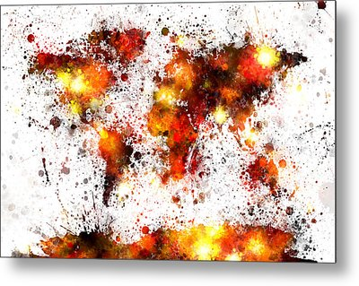 World Map Paint Splashes Metal Print by Michael Tompsett