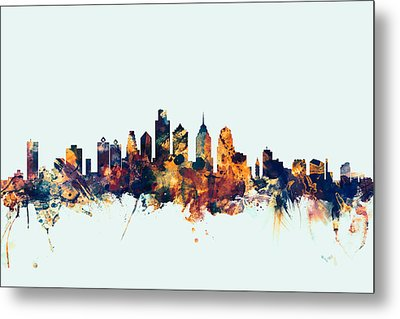 Philadelphia Pennsylvania Skyline Metal Print by Michael Tompsett