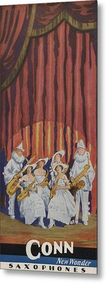 A Band On Stage Playing Charles Gerard Conn Saxophones Metal Print by American School