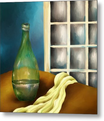A Bottle And A Towel Metal Print by Brenda Bryant