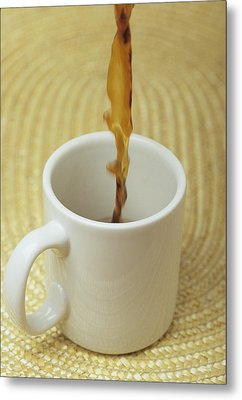A Cup Of Energy Filled Coffee Is Poured Metal Print by Taylor S. Kennedy