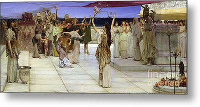 A Dedication To Bacchus Metal Print by Sir Lawrence Alma Tadema