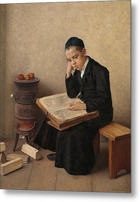 A Difficult Passage In The Talmud Metal Print by Isidor Kaufmann