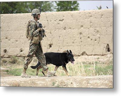 A Dog Handler Of The U.s. Marine Corps Metal Print by Stocktrek Images