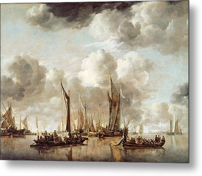 A Dutch Yacht Firing A Salute As A Barge Pulls Away Metal Print by Jan van de Capelle