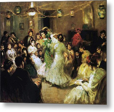 A Flamenco Party At Home Metal Print by Francis Luis Mora