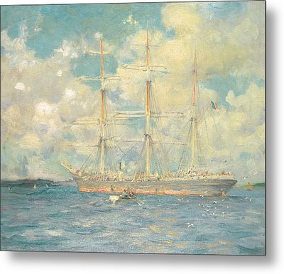 A French Barque In Falmouth Bay Metal Print by Henry Scott Tuke
