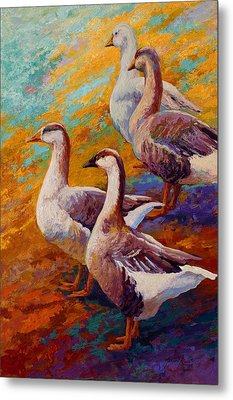 A Gaggle Of Four - Geese Metal Print by Marion Rose