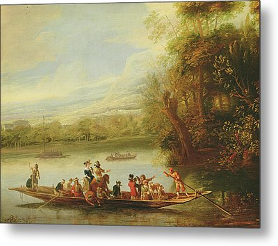 A Landscape With A Crowded Ferry Crossing The Water In The Foreground  Metal Print by Willem Schellinks