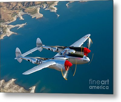 A Lockheed P-38 Lightning Fighter Metal Print by Scott Germain
