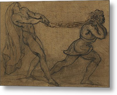 A Male Nude Pulled By Another Male Metal Print by Theodore Gericault