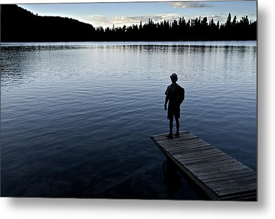 A Man Looking Across A Lake. Into Metal Print by Dawn Kish