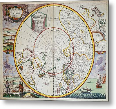 A Map Of The North Pole Metal Print by John Seller