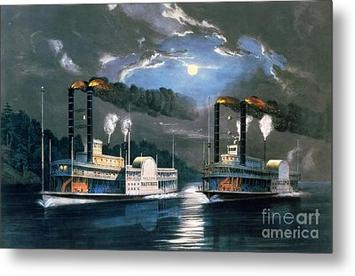 A Midnight Race On The Mississippi Metal Print by Currier and Ives