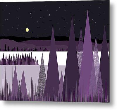 A Moonlit Winter Night II Metal Print by Val Arie