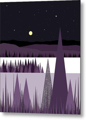 A Moonlit Winter Night Metal Print by Val Arie