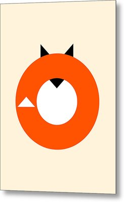 A Most Minimalist Fox Metal Print by Nicholas Ely