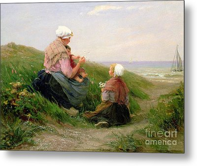 A Mother And Her Small Children Metal Print by Edith Hume