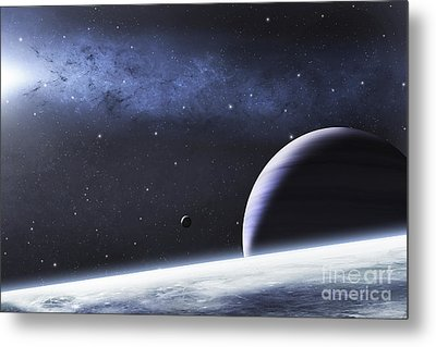 A Mysterious Light Illuminates A Small Metal Print by Justin Kelly