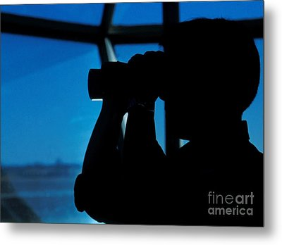 A Navy Air Traffic Controller Maintains Metal Print by Michael Wood
