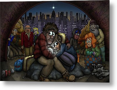 A New York City Nativity Metal Print by Adam Nettesheim
