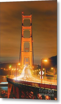 A Night View Of The Golden Gate Bridge From Vista Point In Marin County - Sausalito California Metal Print by Silvio Ligutti