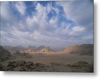 A Panoramic View Of The Wadi Rum Region Metal Print by Gordon Wiltsie