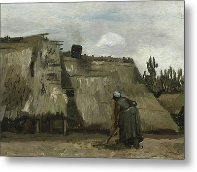 A Peasant Woman Digging In Front Of Her Cottage Metal Print by Vincent Van Gogh