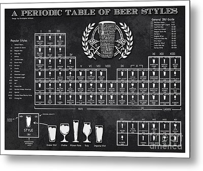 A Periodic Table Of Beer Styles Metal Print by Christopher Williams
