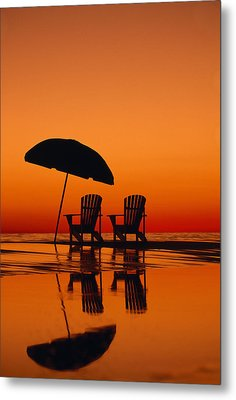 A Picturesque Scene With Two Chairs Metal Print by Michael Melford