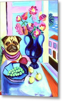 A Pug's Dinner At Henri's - Pug Metal Print by Lyn Cook