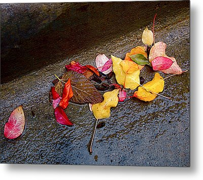 A Rainy Autumn Day In The City Metal Print by Rona Black
