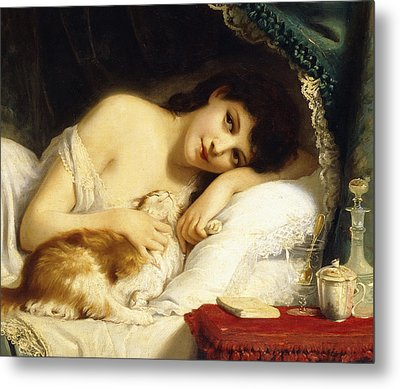 A Reclining Beauty With Her Cat Metal Print by Fritz Zuber-Buhler