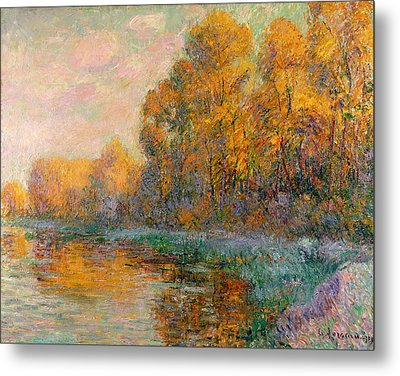A River In Autumn Metal Print by Gustave Loiseau