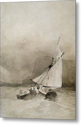A Sailing Vessel And A Rowing Boat In Rough Seas Metal Print by Richard Parkes Bonington