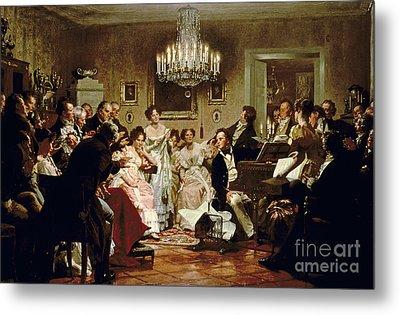 A Schubert Evening In A Vienna Salon Metal Print by Julius Schmid